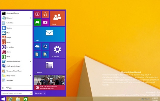 Menu start Windows 8.1 Pro Build 9788