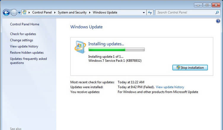 problem z Windows Update
