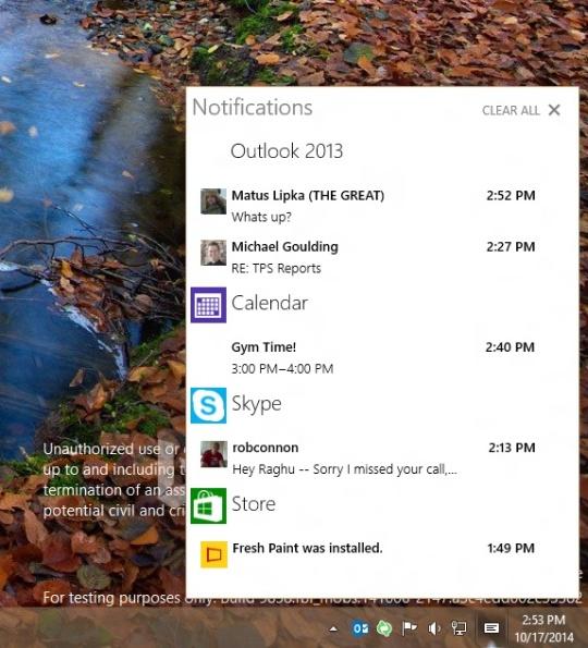 Centrum notyfikacji Windows 10
