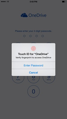 OneDrive touch id IOS