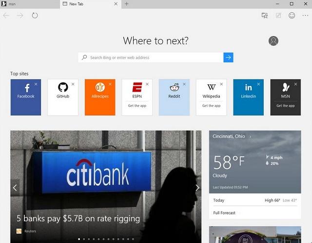 Widok nowej karty w Microsoft Edge