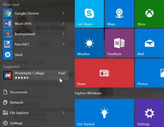 Menu start Windows 10 reklama