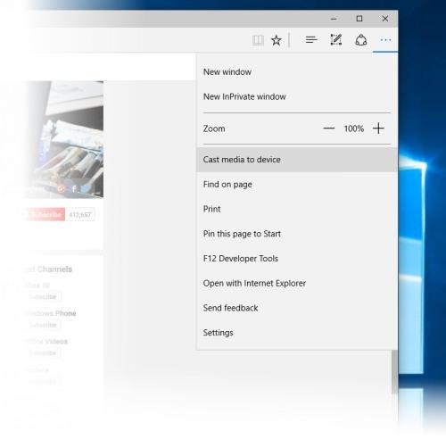 Microsoft Edge i funkcja odtwarzania na innym urządzeniu