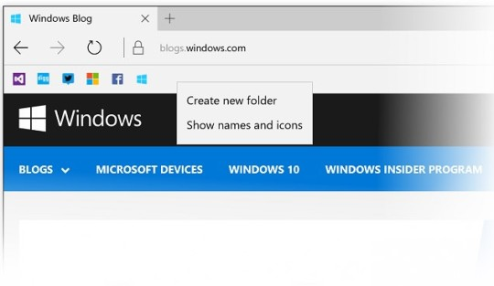 Pasek ulubionych stron w Microsoft Edge