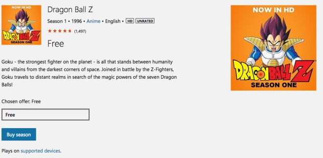 Dragon ball z Windows Store