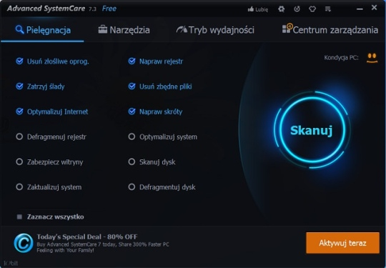 advanced systemcare 7.3 menu