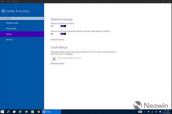 Ustawienia kopii zapasowej w Windows 10