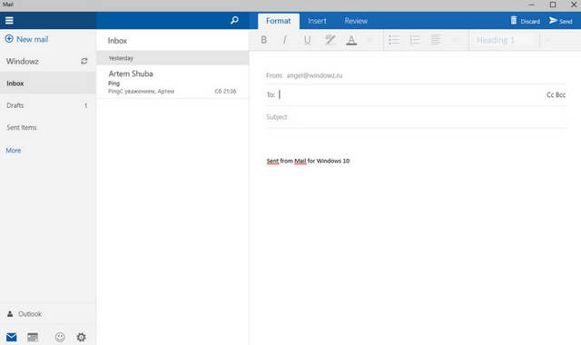 Mail w Windows 10