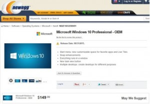 Newegg preorder Windows 10