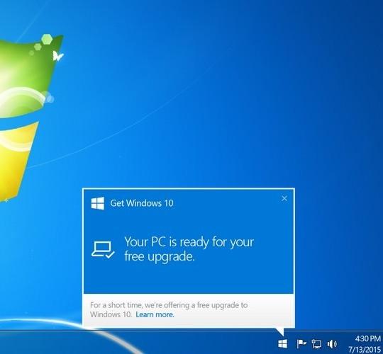 Informacja o możliwości aktualizacji w Windows 7