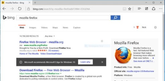 Komunikat wyświetlany za pośrednictwem przeglądarki Firefox lub Chrome