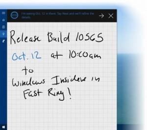 Cortana rozpoznaje odręczne notatki