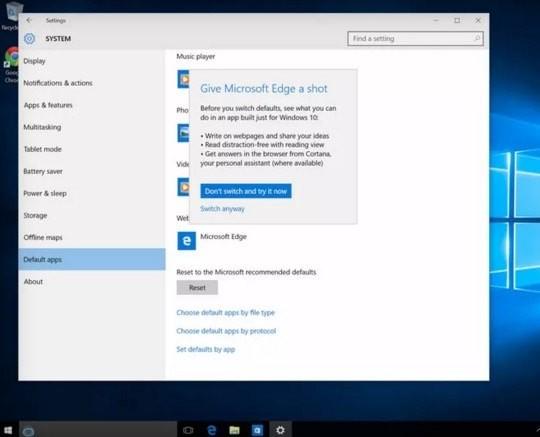 Windows 10 domyslna przegladarka