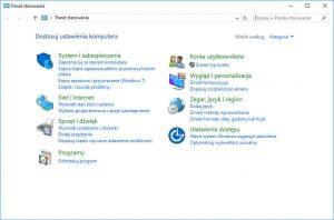Windows 10 Panel sterowania