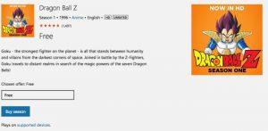 Dragon ball z Windows Store
