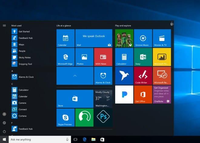 Foldery menu start Windows 10