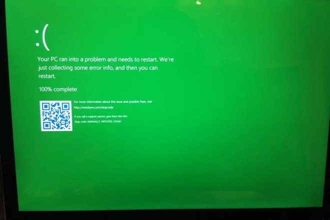 Zielony BSOD WIndows 10