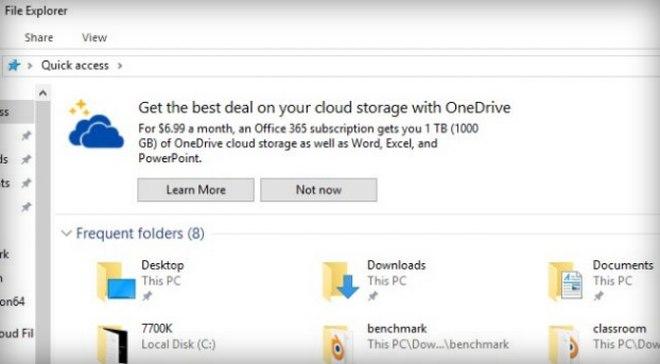 Windows 10 eksplorator reklama