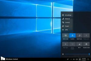 Windows 10 centrum akcji