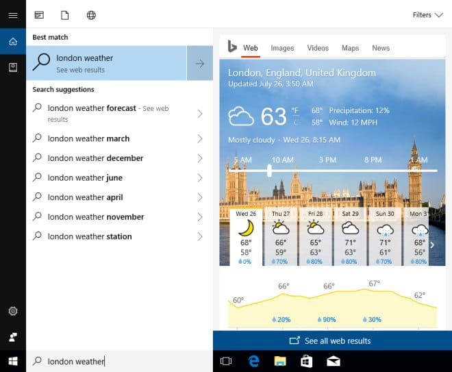 Windows 10 build 16251 Cortana