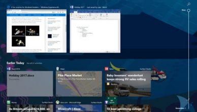 Oś czasu Windows 10