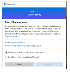Microsoft weryfikacja wieku