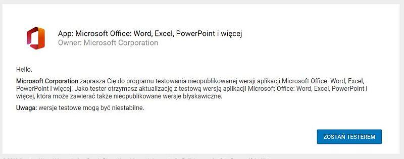 App: Microsoft Office, tester