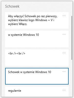 Schowek - historia