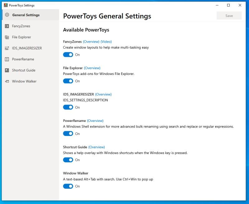 Ustawienia PowerToys 0.16