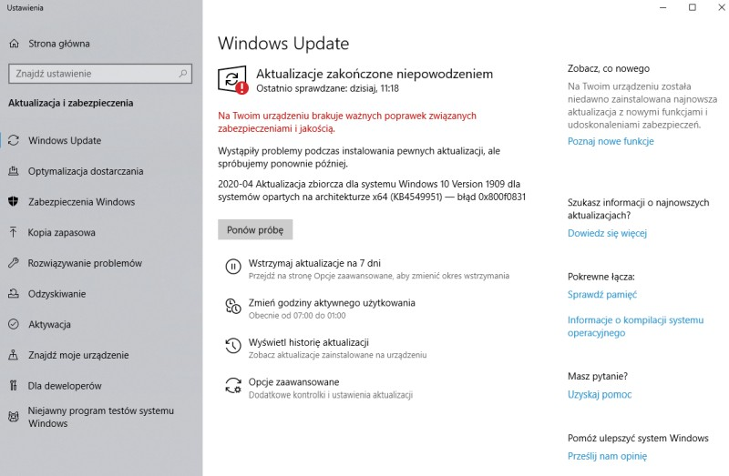 Windows 10 - aktualizacja