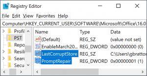 Outlook: naprawa w rejestrze
