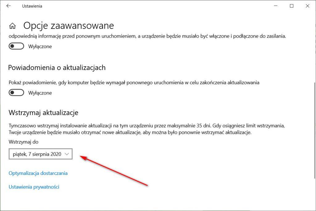Windows Update: Opcje zaawansowane