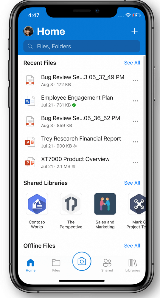 OneDrive Home na iOS