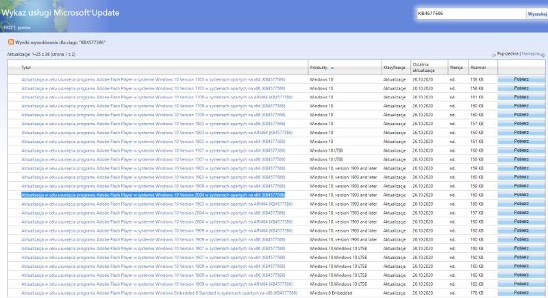 Katalog aktualizacji Windows 10