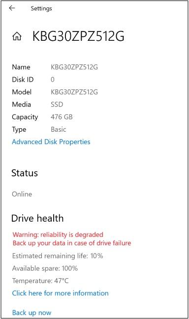 Kondycja dysku - Windows 10