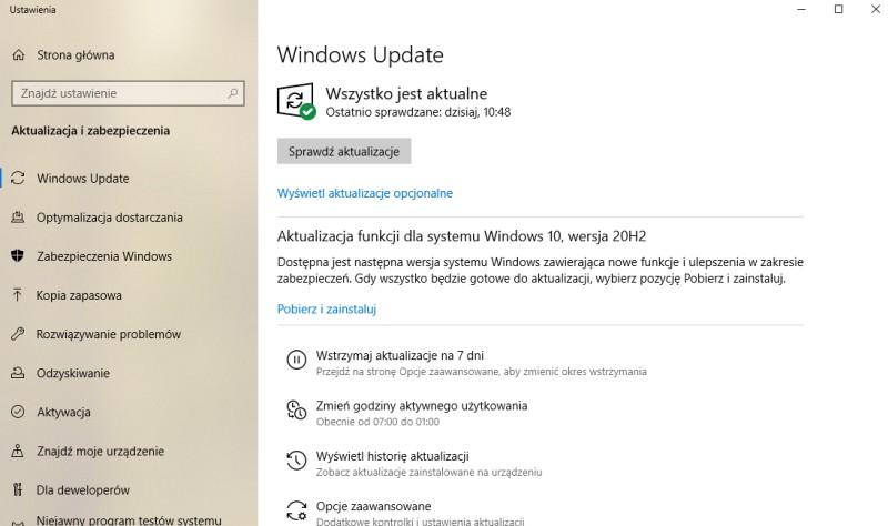 Windows 10 20H2 w Windows Update