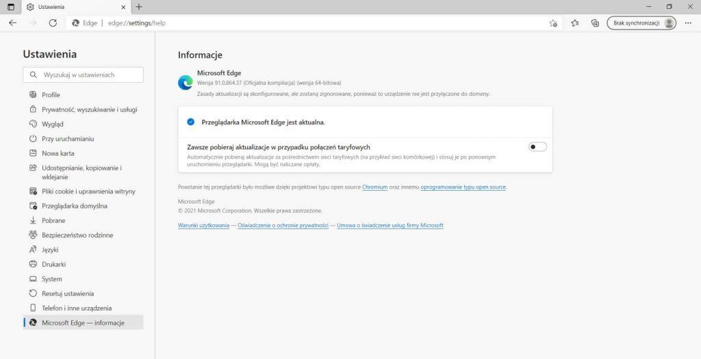 Microsoft Edge ustawienia